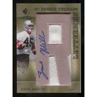 2007 Upper Deck SP Rookie Threads Rookie Lettermen Silver #141 Zach Miller Autograph /199