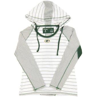 Green Bay Packers Antigua White Zeal Hooded Long Sleeve Tee Shirt (Womens X-Large)