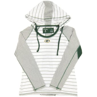 Green Bay Packers Antigua White Zeal Hooded Long Sleeve Tee Shirt (Womens X-Large)