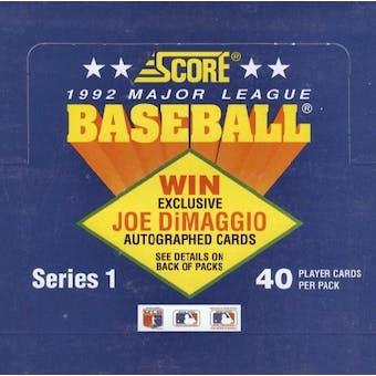 1992 Score Series 1 Baseball Cello Box