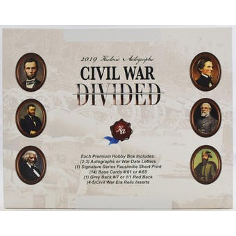 2019 Historic Autographs Civil War Divided Hobby Box