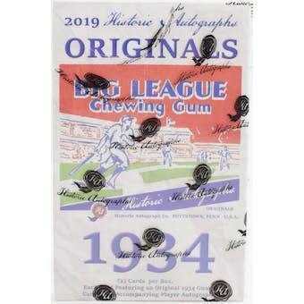 2019 Historic Autographs Originals 1934 Baseball Hobby Box