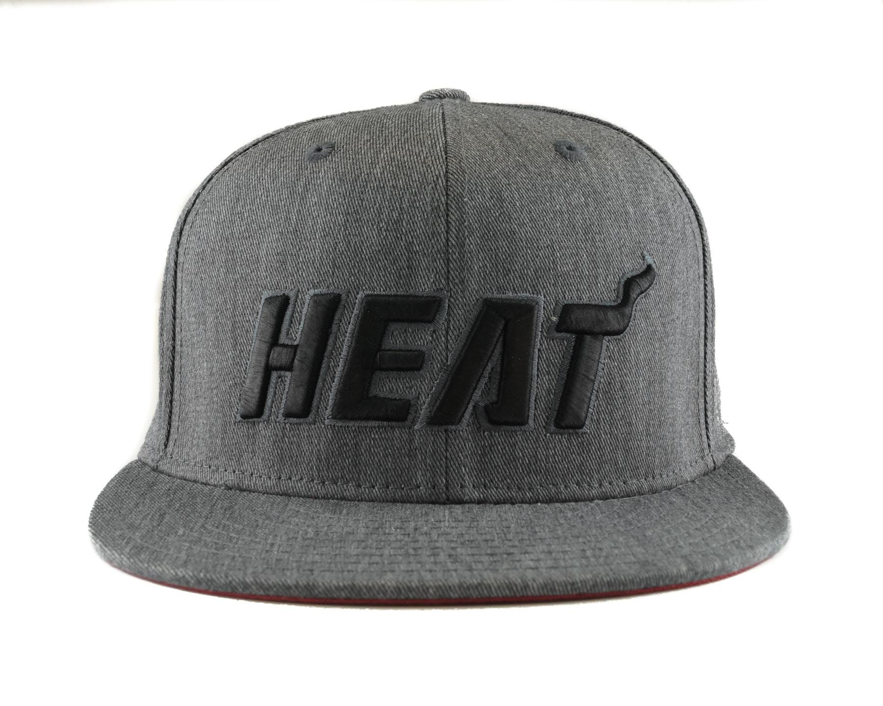 48358b466d5ff Miami Heat Adidas NBA Grey Fitted Flat Visor Flex Hat