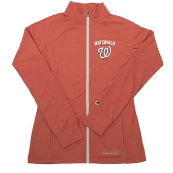 Washington Nationals Majestic Marled Red Count The Wins Womens Full Zip Jacket (Womens L)