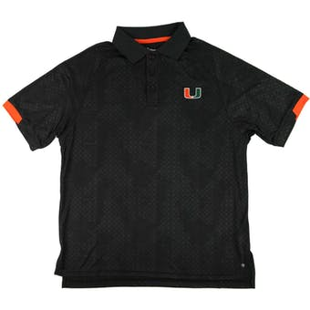 Miami Hurricanes Colosseum Black Gridlock Chiliwear Performance Polo Shirt (Adult M)