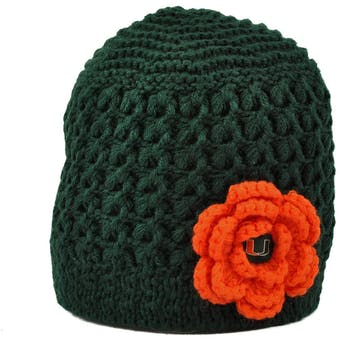 Miami Hurricanes Top Of The World Green Womens Maritime Flower Knit Hat (Womens One Size)