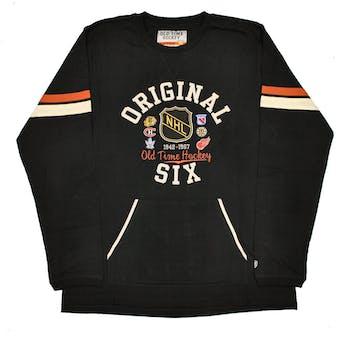 NHL Original 6 Logo Old Time Hockey Cobron Black & Ochre Long Sleeve Tee Shrit