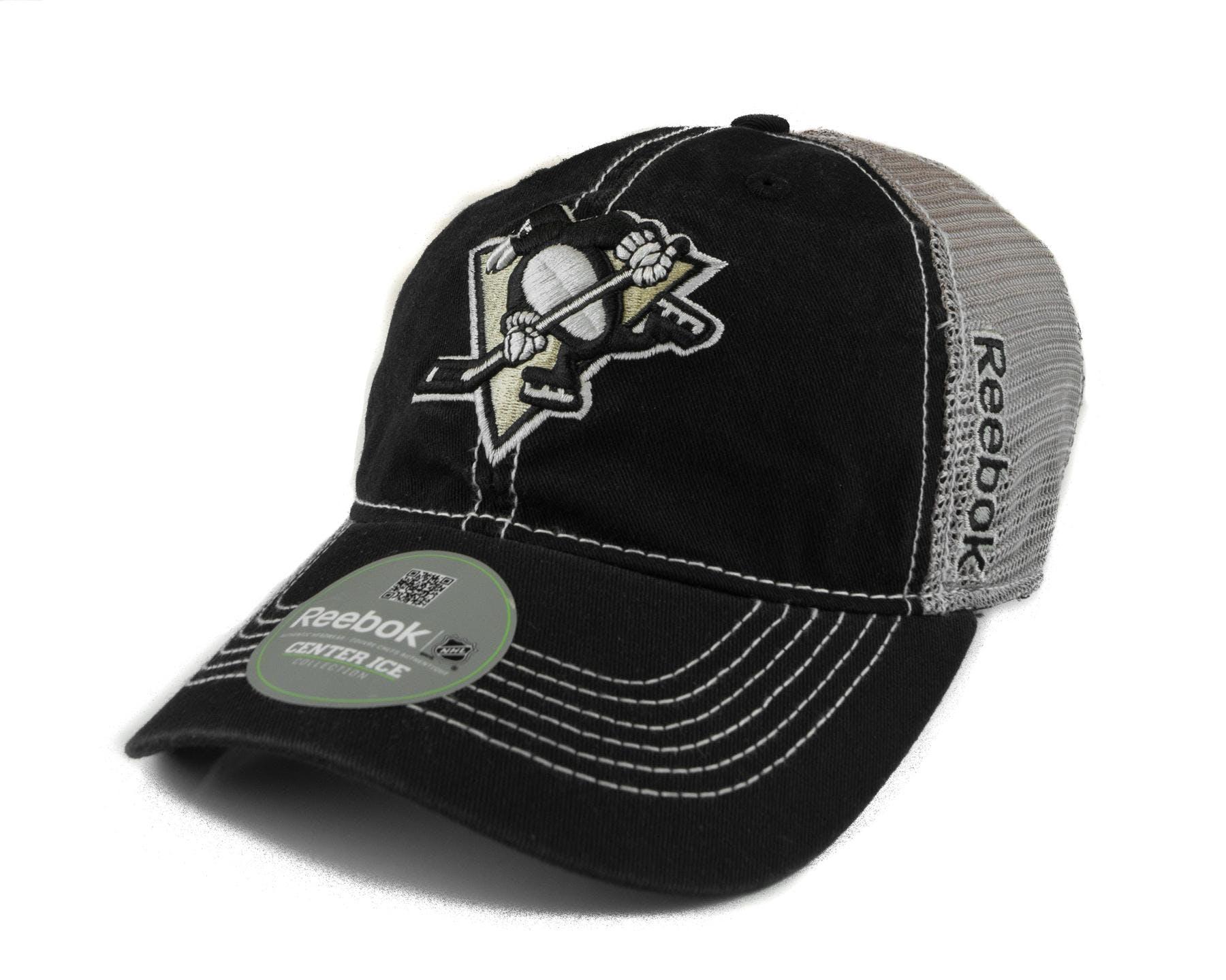 d607de1f946 Pittsburgh Penguins Reebok Black Grey Cotton Cap Fitted Hat
