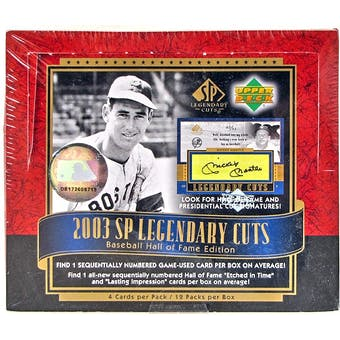 2003 Upper Deck SP Legendary Cuts Baseball Hobby Box