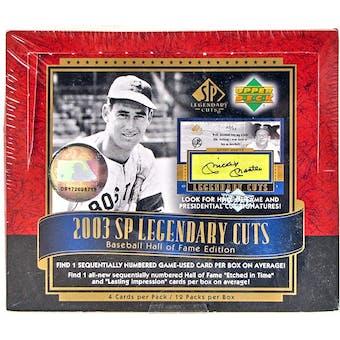 2003 Upper Deck SP Legendary Cuts Baseball Hobby Box