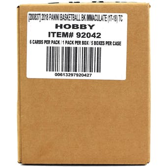 2017/18 Panini Immaculate Basketball Hobby 5-Box Case