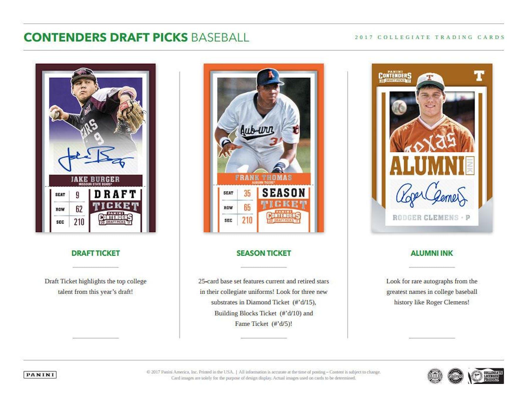 2017 Panini Contenders Draft Picks Baseball Hobby Box | DA Card
