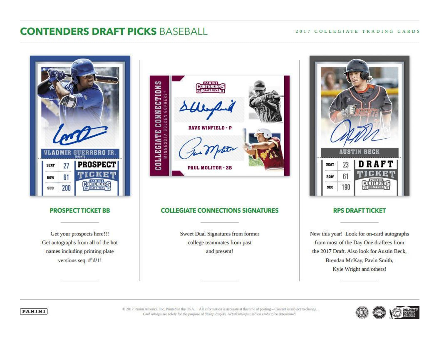 2017 Panini Contenders Draft Picks Baseball Hobby Box | DA Card