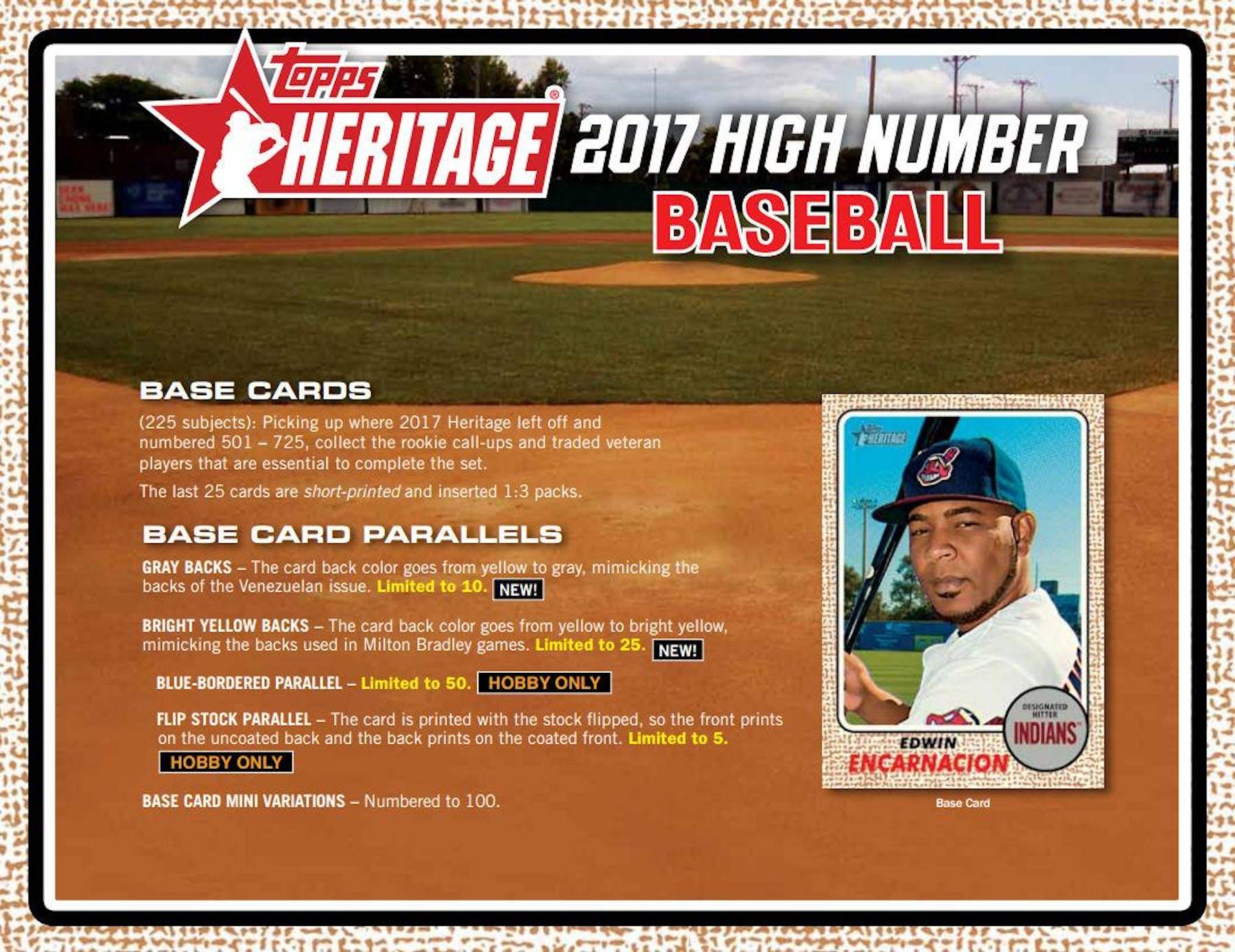 2017 Topps Heritage High Number Baseball Hobby Box Da Card