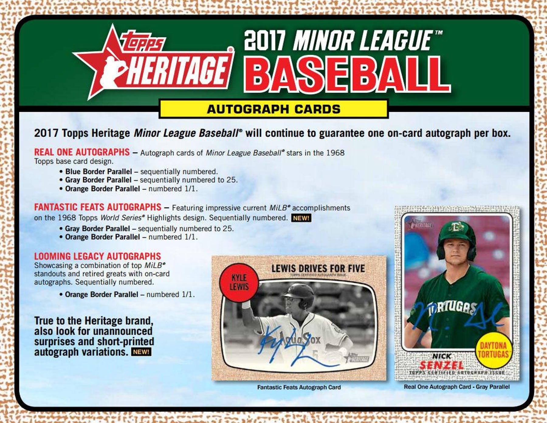 2017 Topps Heritage Minor League Baseball Hobby Box Da Card