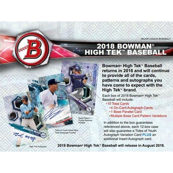2018 Bowman High Tek Baseball 6-Box- 2018 Holiday 26 Spot Pick Your Team Break #1