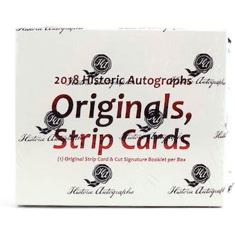 2018 Historic Autographs Originals Strip Cards Baseball Hobby Box