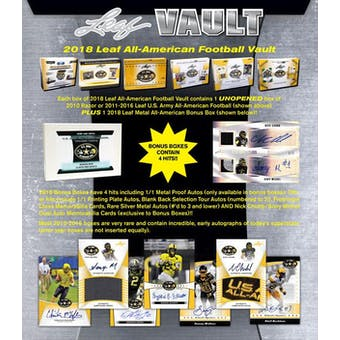 2018 Leaf U.S. Army All American Football Vault Hobby Box