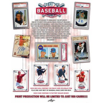 2018 Leaf Best Of Baseball Hobby Box