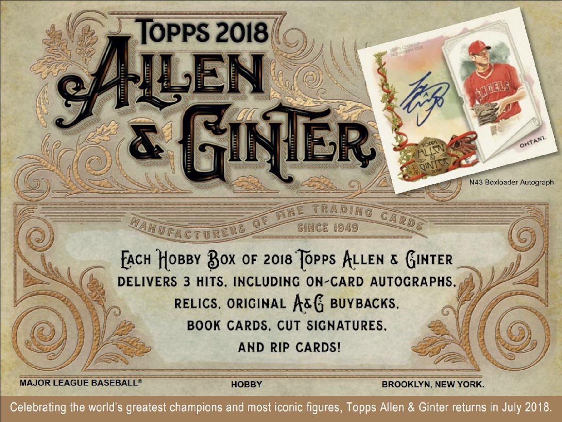 2018 Topps Allen Ginter Baseball Hobby Box