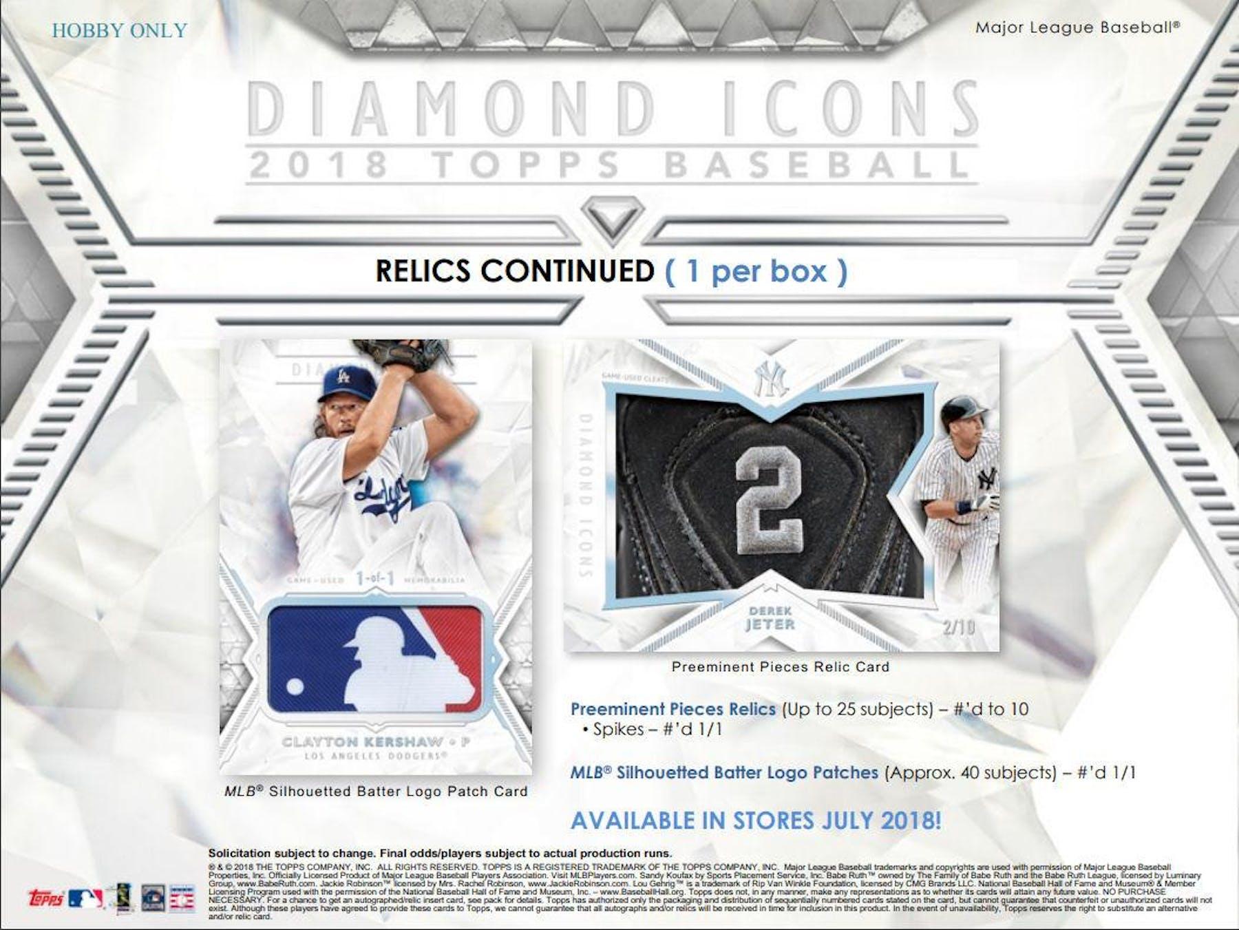 2018 Topps Diamond Icons Baseball Hobby 4 Box Case Da Card