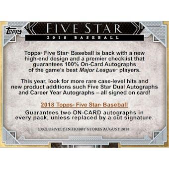 2018 Topps Five Star Baseball Hobby 8-Box Case- DACW Live 30 Spot Pick Your Team Break #1