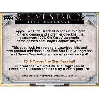 2018 Topps Five Star Baseball Hobby 4-Box- 2018 Holiday 30 Spot Pick Your Team Break #1
