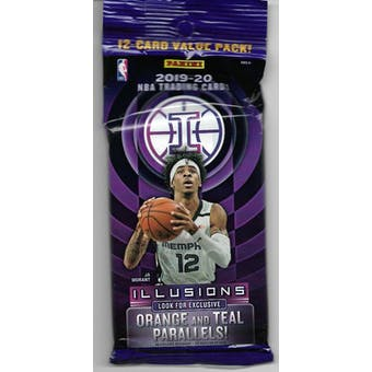2019/20 Panini Illusions Basketball Jumbo Fat 12 Card Pack (Lot of 12)