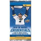 2019/20 Upper Deck Credentials Hockey Hobby Pack