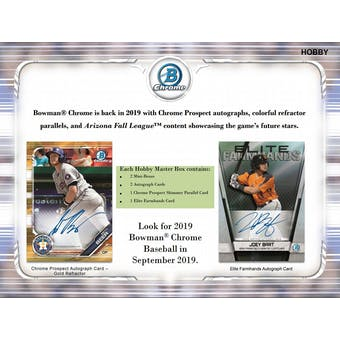 2019 Bowman Chrome Baseball Hobby Box (Presell)