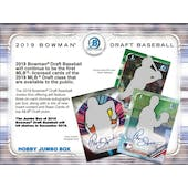 2019 Bowman Draft Baseball Hobby Jumbo 8-Box Case (Presell)