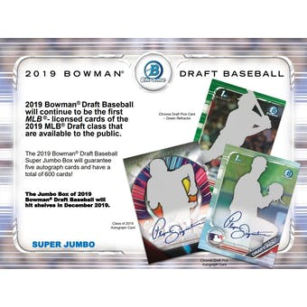 2019 Bowman Draft Baseball Super Jumbo Box (Presell)