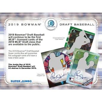 2019 Bowman Draft Baseball Super Jumbo 3 Box- DACW Live 29 Spot Random Team Break #1