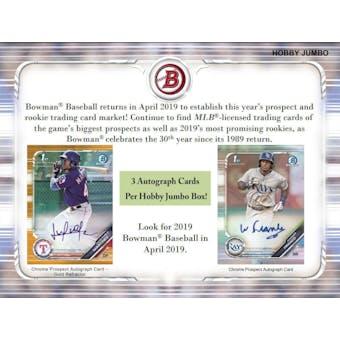 2019 Bowman Baseball 4 Jumbo Box- DACW Live 30 Spot Pick Your Team Break #1