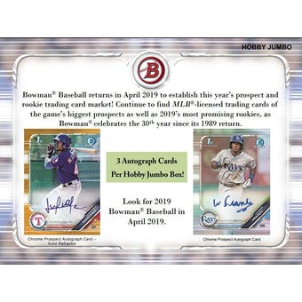 2019 Bowman Baseball 4 Jumbo Box- DACW Live 30 Spot Pick Your Team Break #2