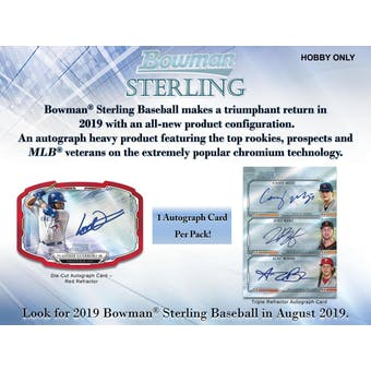 2019 Bowman Sterling Baseball 12-Box Case- DACW Live 30 Spot Pick Your Team Break #1