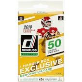 2019 Panini Donruss Football 50ct Hanger Box (PLUS One Memorabilia Card!)