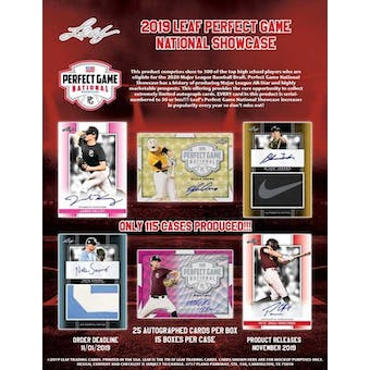 2019 Leaf Perfect Game National Showcase Baseball Hobby Box (Presell)