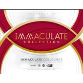 2019 Panini Immaculate Collegiate Football 5-Box Case- DACW Live 32 Spot Random Team Break #1