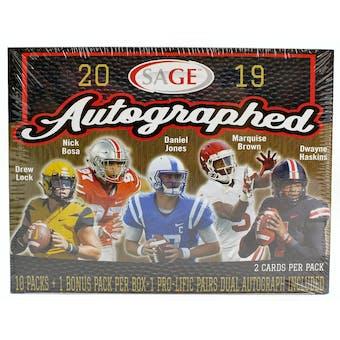 2019 Sage Autographed Football Hobby Box
