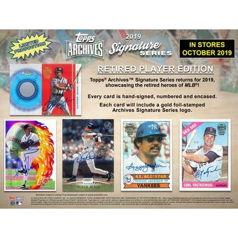 2019 Topps Archives Sig Series Retired Edition Baseball 20-Box Case- DACW Live 20 Spot Random Hit Break #1