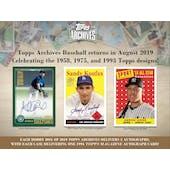 2019 Topps Archives Baseball Hobby Box (Presell)