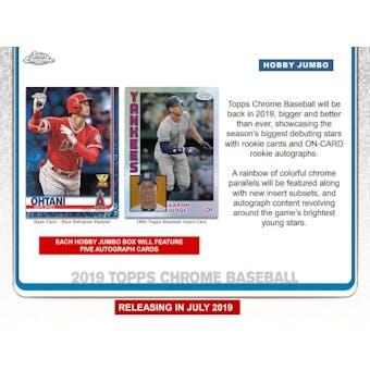 2019 Topps Chrome Baseball Hobby Jumbo Pack