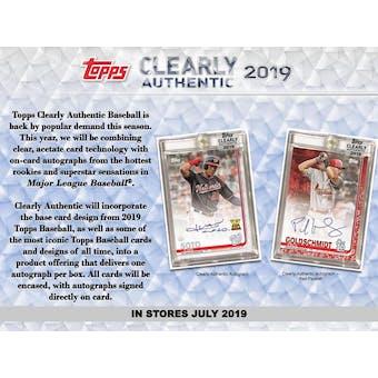 2019 Topps Clearly Authentic Baseball 20-Box Case- DACW Live 20 Spot Random Hit Break #1