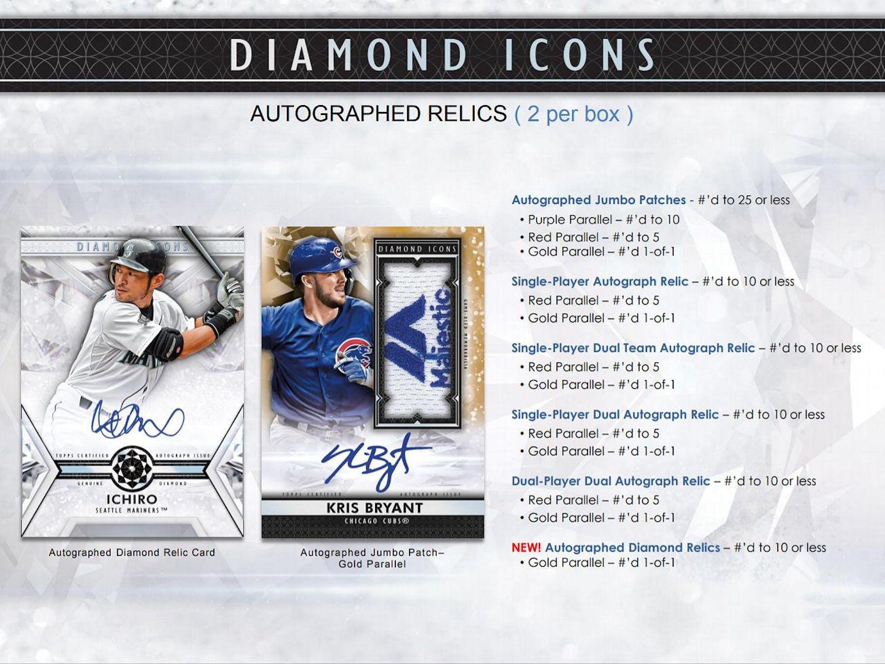 2019 Topps Diamond Icons Baseball Hobby 4 Box Case Da Card