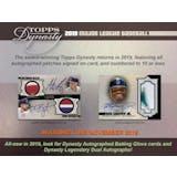 2019 Topps Dynasty Baseball Hobby Box (Presell)