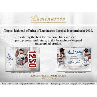 2019 Topps Luminaries Baseball 12-Box Case- DACW Live 29 Spot Pick Your Team Break #1