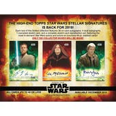 Star Wars Stellar Signatures Hobby Case (Topps 2019) (Presell)