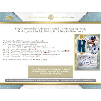 2019 Topps Transcendent Collection Baseball Case- DACW Live 108 Spot Random Hit Break #1