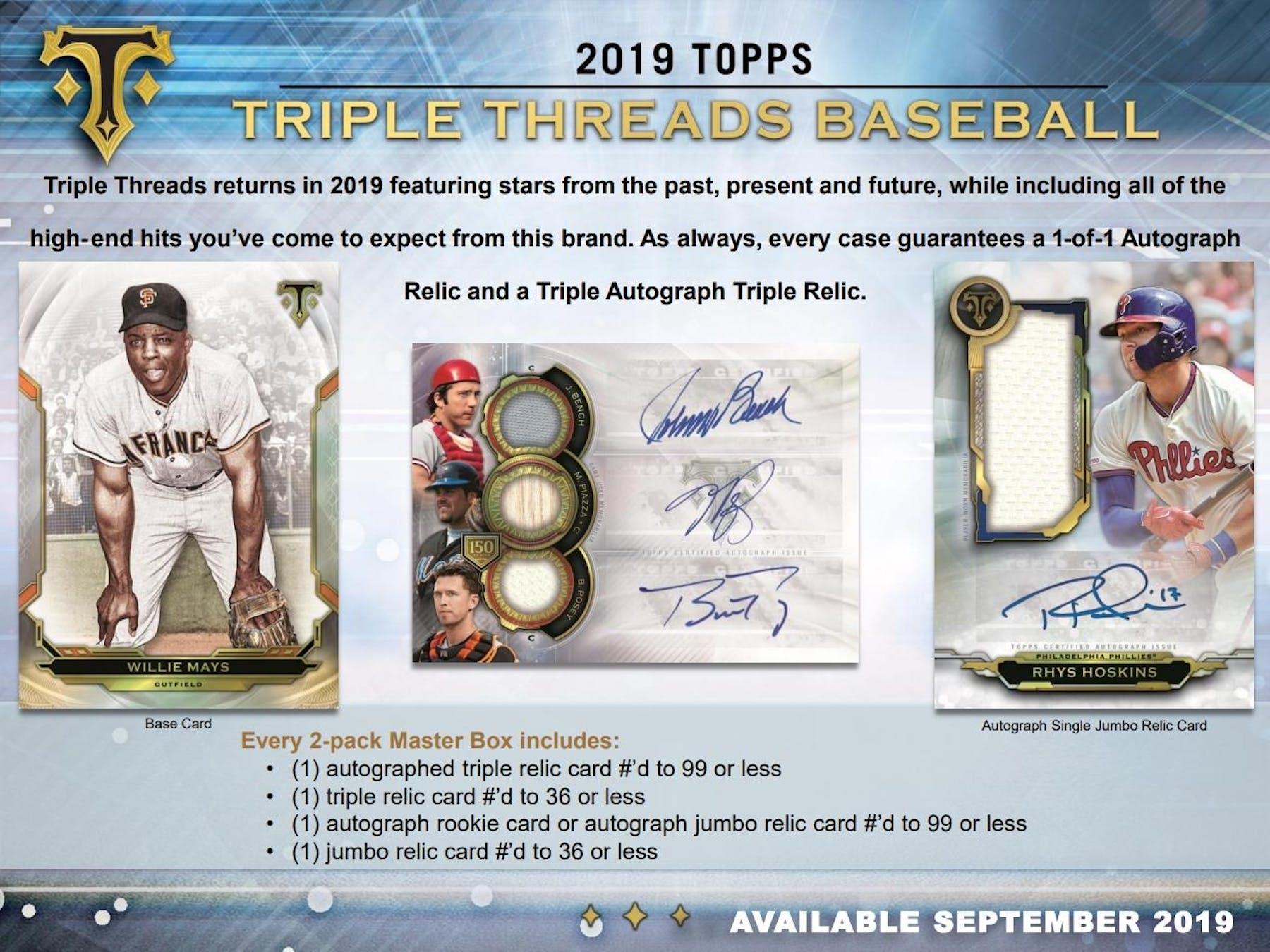 2019 Topps Triple Threads Baseball Hobby 9 Box Case Presell Da
